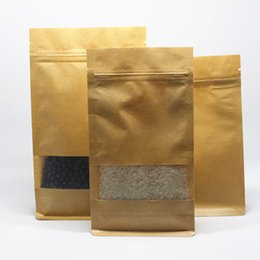 coffee storage bags wholesale NZ - 14*24+6cm 50Pcs  Lot Kraft Paper W  Clear Window Ziplock Storage Pack Bag Coffee Snack Nuts Heat Seal Doypack Paper Valve Pouch