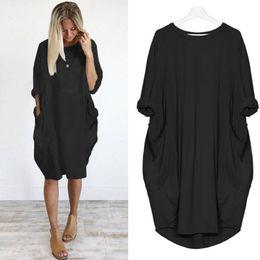 Female Dresses Australia - Feitong Plus Size Boho Womens Dress Ladies Casual Pocket Loose Dress Crew Neck Mini Tops female vestidos verano 2019 New