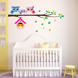 Wholesale DIY removable Owl Branch Vinyl Children Kids Home Decor Mural Wall Sticker Decal