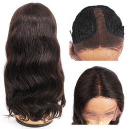 AfricAn AmericAn wigs middle pArt online shopping - Kiss Hair Middle Part Pre Plucked T Lace Front Wig Body Wave Virgin Human Hair Wigs inch Full Lace Wigs African American Wigs