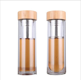 bamboo drink glasses UK - 450ml Bamboo Lid Borosilicate Water Bottles Double Walls Anti Scald Glass Cups Easy To Clean Transparent Tumbler Portable Joyshaker Flask
