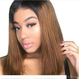 lace front 1b 27 UK - A Mongolian Human Hair Bob Wigs 1B 27 Straight Full Lace Wig Lace Front Wig Glueless with Baby Hair