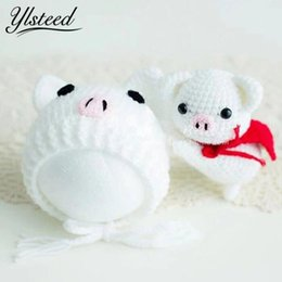 a04bdbba135 Ylsteed Newborn Props Crochet Pig Style Doll Hat Set Cute Newborn Cap  Infant Photography Accessories Baby Fotografie Props
