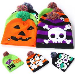 $enCountryForm.capitalKeyWord Australia - Halloween Kids Knitted Hats Led Baby Moms Winter Warm Beanies Crochet Caps For Pumpkin Ghost Skull Festival Party Supplies WX9-1509