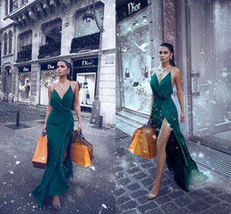 Size 16 Silver dreSS online shopping - Sexy New Arrival Dark Green Said Mhamad A Line Prom Dresses Halter Neck Backless High Side Split Evening Dresses Wear Party Gowns