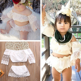 Wholesale white lace skirt blouse resale online - Baby Clothes White Skirts Girls Cute Outfits Lace Blouses T shirt Short Dress Clothing Sets infant Summer Dresses Cheap E22501
