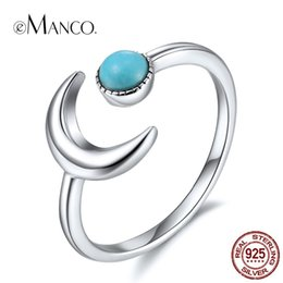 Discount cheap celtic charms - Cheap Wedding Bands eManco Wholesale 925 Silver Moon Cuff Rings Size 7 Blue Stone Lovers Wedding Magical Charming Rings