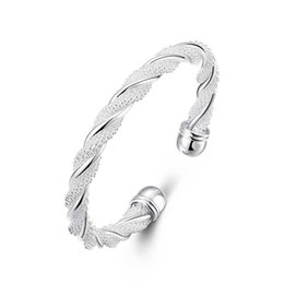 $enCountryForm.capitalKeyWord UK - Silver Plated bracelets Twisted Wire Mesh Copper Cuff Bracelet Fashionable Charm Bangles Jewelry For Female Party Christmas Gifts POTALA020