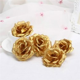 silver artificial wedding flowers NZ - (100 pcs) 8cm Gold Mini Artificial Rose Silk Flower Heads Handmade DIY Scrapbooking Garland Fake Flower For Wedding Decorative