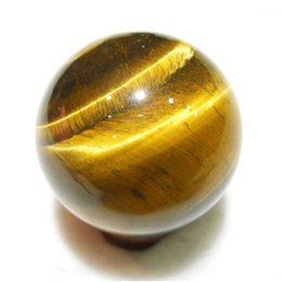 round silver magnetic balls UK - Yellow Handmade Rare Healing Ball Natural Sphere Mini Toy Gift Tiger Eye Crystal Pendants 2cm Round