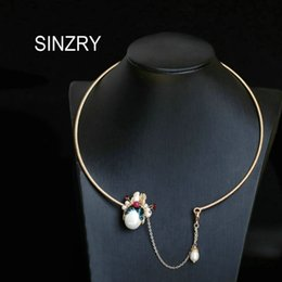 pearl choker necklace costume Australia - SINZRY original handmade ethnic vintage pearl peking facial mask chokers necklace band lady creative costume jewelry