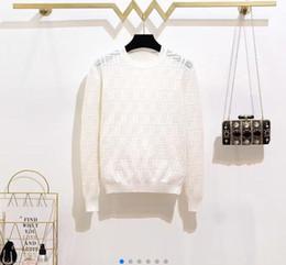 Großhandel 2019 neue Luxus Frauen Marke Pullover elegante Langarm Brief Freizeit Strickhemd Oansatz Einreiher Strickjacke Strickpullover