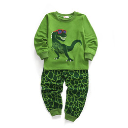 cute dinosaur cartoons NZ - Cute Baby Kids Cartoon Clothing Set Boys Girls Dinosaur Prints Long Sleeve Sweatshirt+Pants Kids Designer Tracksuit Clothes Toddler Outfits