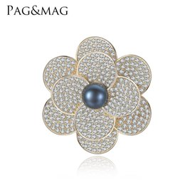Vintage Flower Brooches Australia - PAG&MAG Brand Shiny 925 Sterling Sliver Black Pearl Brooches & Pins Flower Shape Brooch For Women Vintage Scarf Clip Jewelry Accessories