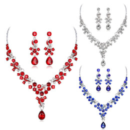 Red Indian Costumes Australia - Luxury Indian Bridal Necklace Earrings Sets Fashion Crystal Wedding Jewelry Sets For Women Brides Party Costume Jewellery