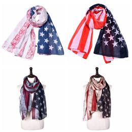 Scarfs Cotton Australia - 180cm*90cm Striped American flag scarf unisex Cotton linen stars Patriotic US Scarf Pashmina Stars Print Shawl Independence Day Wrap AAA2116