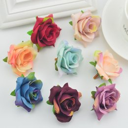 wholesale door gift box 2020 - 5pcs fake flowers wall Artificial Head for home Wedding Decoration diy make door Wreath Gift Box Scrapbooking Silk Retro