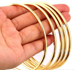 Wholesale 100pcs gold smooth round bracelet female. Round line gold simple bracelet jewelry on Sale