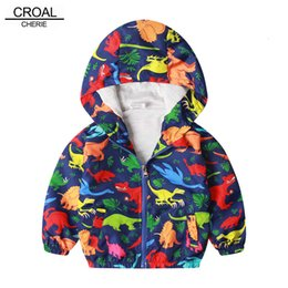 cute dinosaur cartoons Australia - CROAL CHERIE Cotton Jacket For Kids Boys Windbreaker Cartoon Dinosaur 2019 Autumn Children Coat For Girls Kids Clothes 80-130cm CJ191205