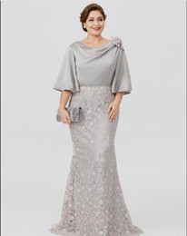 Wholesale silver grey lace wedding dress resale online - 2020 Elegant Silver grey Mother Of The Bride Dresses crew Half Sleeve Lace Mermaid Wedding Guest Dress Plus Size Formal Evening Gowns