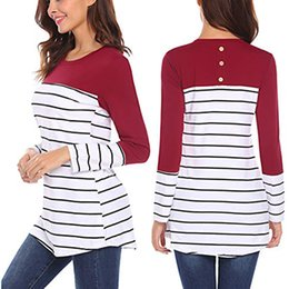 long sleeve modal tees Australia - New Spring Breastfeeding Pregnancy T-Shirt Maternity Nursing Tee Tops Long Sleeve Striped Patchwork Cotton Pregnant Shirts