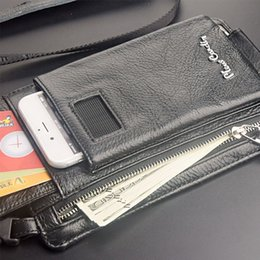 Mobile Edge Australia - For Sumsung Galaxy S10 S6 S7 Edge S8 S9 Plus S10 Lite Mobile Phone Bag Pierre Cardin Shoulder Bag Cowhide Genuine Leather Strap