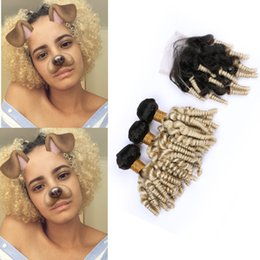 $enCountryForm.capitalKeyWord Australia - Dark Roots Aunty Curly Blench Blonde 1B 613 Hair Bundles With Lace Closure Ombre Blonde Sprial Hair Weaves With Closure For Woman