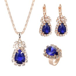 $enCountryForm.capitalKeyWord Australia - 2019 Silver White Color New Water Drop Rhinestone Pendant Necklace&Earrings For Women Ladies Jewelry Sets Wedding Blue Red
