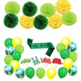 $enCountryForm.capitalKeyWord Australia - 2019 HOT Dinosaur Forest Theme Happy Birthday Party Cupcake Toppers Ballon Tissue Flower Banner Decoration Party Set