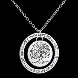 $enCountryForm.capitalKeyWord Australia - Life Tree Necklace Antique Silver Circle Engraved Dream Hope Trust Pendant Necklace for Women Inspire Jewelry Mother's Day Friendship Gift