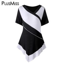 $enCountryForm.capitalKeyWord Australia - Plusmiss Plus Size 5xl 4xl White And Black Patchwork Casual T-shirt Women Clothing Big Size Summer 2018 T Shirt Ladies Tops Tee Y19051104