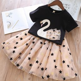 ebc70f274eb Girls Outfits kids Designer Set Clothes 2019 New Summer Girls Sets Swan  Print T shirt+Stars Gauze Tutu Skirts kids Dress Suits Clothing