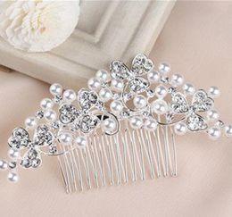 $enCountryForm.capitalKeyWord Australia - Bride Crown Jewelry Studio Wedding Headwear Water Diamond Block Hair Ornament Performing Five-tooth Pearl Comb