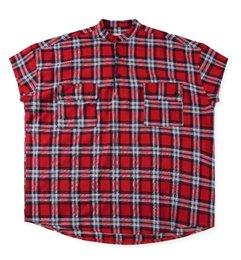 Mens Red Blue Plaid Shirt UK - Hip hop Streetwear Fear of god FOG 6th Season 6 Red and Blue Plaid Henry Collar Short Sleeve Shirt Mens Casual Shirt