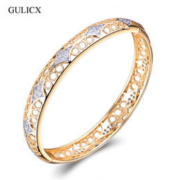 silver indian wedding bangles NZ - GULICX High Quality Brand Fashion Bangle for Women White and Gold-color Bracelet White Cubic Zirconia Wedding Jewelry Z036 C19010401