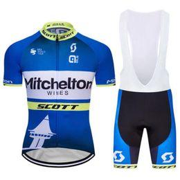 Venta al por mayor de 19 Scott Mitchelton Wines Jerseys de ciclismo Mangas cortas Jersey (babero) Conjuntos de pantalones cortos Verano Ciclismo deportivo al aire libre Ropa Pro Mountain