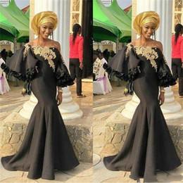 Girls trendy shorts online shopping - Trendy Aso Ebi Arabic Mermaid Ruffle Evening Dresses Black Girl Gold Applique Prom Occasion Saudi Arabia robe de mariée Pageant Party Gowns