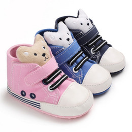soft sole baby sport shoes NZ - New Cute Bear Baby Boys Girls Sneakers Canvas Sports Crib Soft Casual Shoes Soft Sole Anti-Slip First Walkers 0-18M12