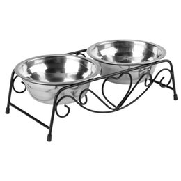 dogs bowls NZ - Double Pet Supplies Dog Stainless Steel Plastic Cat Feeding Feeder Food And Water Dish Bowl Q190523