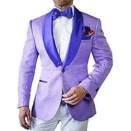 light checking Australia - Latest Design One Button Light Purple Paisley Shawl Lapel Wedding Groom Tuxedos Men Party Groomsmen Suits (Jacket+Pants+Tie)
