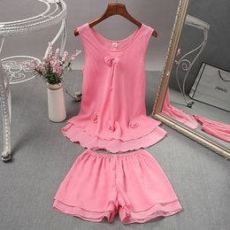 $enCountryForm.capitalKeyWord Australia - YF382 summer ladies chiffon home service suit printing breathable round neck doll shirt pajamas
