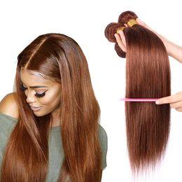 "$enCountryForm.capitalKeyWord Australia - Uniqueme #30 Auburn Brazilian Straight Human Hair Bundles 10-24"" Brazilian Human Hair Extensions 3 4 Bundles Weave For Elegant Black Women"