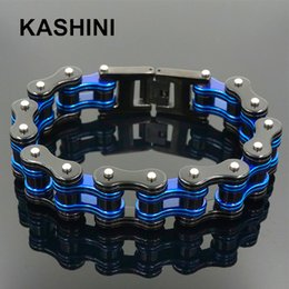 toggle chain bracelet NZ - Punk Motorcycle Chain Men's Blue Black Mens Stainless Steel Biker Bracelet Men Bicycle Bike Bracelets & Bangles MX190720