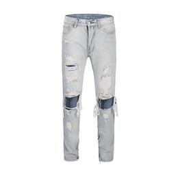 $enCountryForm.capitalKeyWord UK - 2019 KANYE WEST Knee Hole Side Zipper Slim Distressed Jeans Men justin bieber Ripped tore up Jeans For Men pants