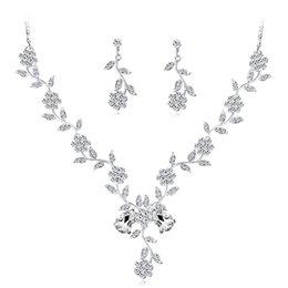 $enCountryForm.capitalKeyWord UK - Women'S Crystal rhinestone Necklace Set Two-Piece Fancy Bridal Necklace And Overhang Earrings Jewelry Set Wedding