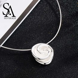 $enCountryForm.capitalKeyWord NZ - Sa Silverage New 925 Sterling Silver Rose Chokers Necklaces For Women Flower 925 Silver Pendant Statement Necklaces Fine Jewelry Q190416