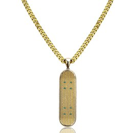 gold micro pendant Canada - 2019 New Hip Hop Gold Silver Color Iced Out Micro Pave CZ Stone Skateboard Pendant Necklaces Copper Necklaces Gifts