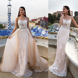 Detachable lace neckline weDDing Dress online shopping - Milla Nova Lace Appliqued Mermaid Wedding Dresses with Detachable Train Sheer Jewel Neckline Trumpet Backless Overskirt Country Bridal Gowns