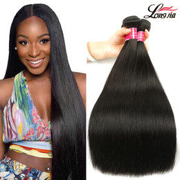 weft hair extensions 16 inch NZ - Brazilian Straight Hair 8-28 Inch 100% Human Hair Virgin Remy Bundles Double Weft Natural Color Hair Weaves Extensions