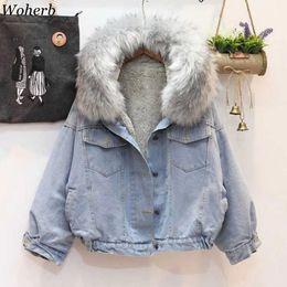 Lamb jackets men online shopping - Woherb Thick Denim Jacket Female Winter Big Fur Collar Hooded Jeans Jackets Women Korean Locomotive Lamb Coat Warm Outwear SH190930